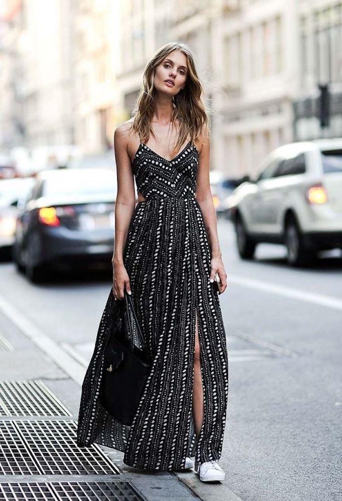 37bd6c2605d Adorable tenue pour l été robe longue à pois blanc robe noire robe longue  fendue
