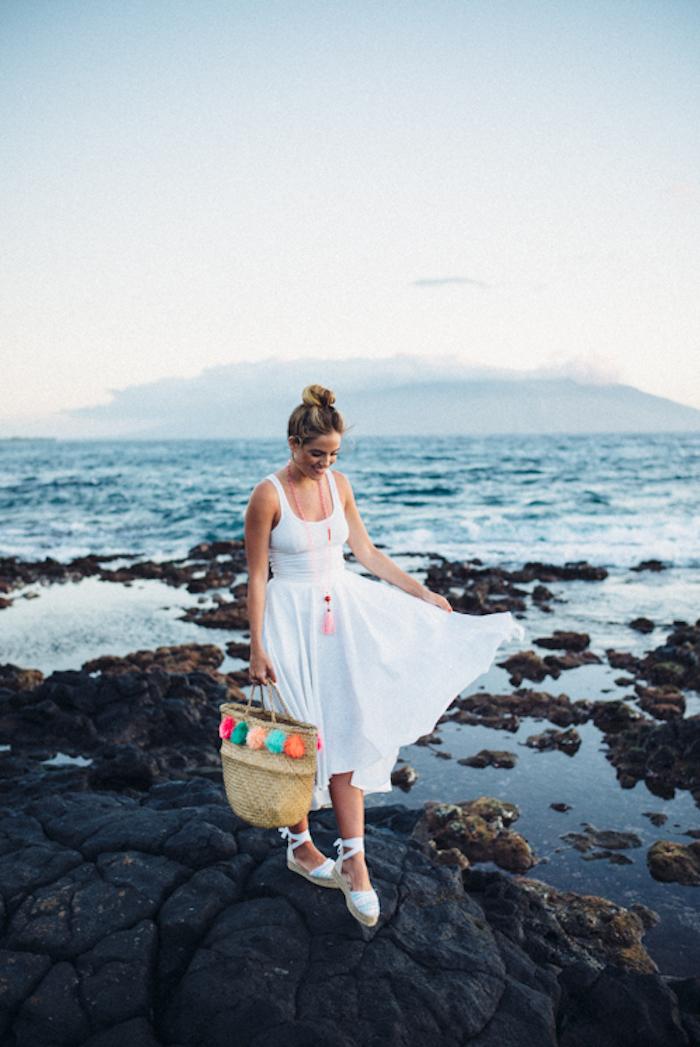 Robe longue fendue robe longue hippie chic robe de plage longue décontracté chic blanche espadrilles
