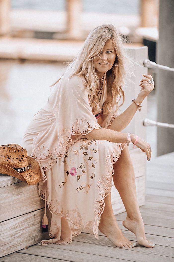 Robe longue a fleur robe longue boheme tenue coachella robe longue hippie robe longue rose pâle belle femme