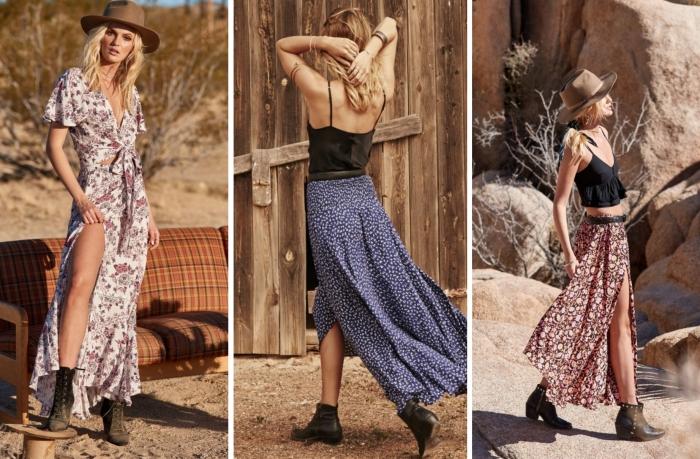 exemple de jupe longue boheme chic fluide à design floral aux couleurs terrestres, idée comment porter une jupe bohème