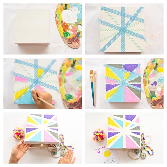 boîte à bijoux diy décorée à motifs géométriques colorés réalisés avec du washi tape, idee cadeau maitresse fait main