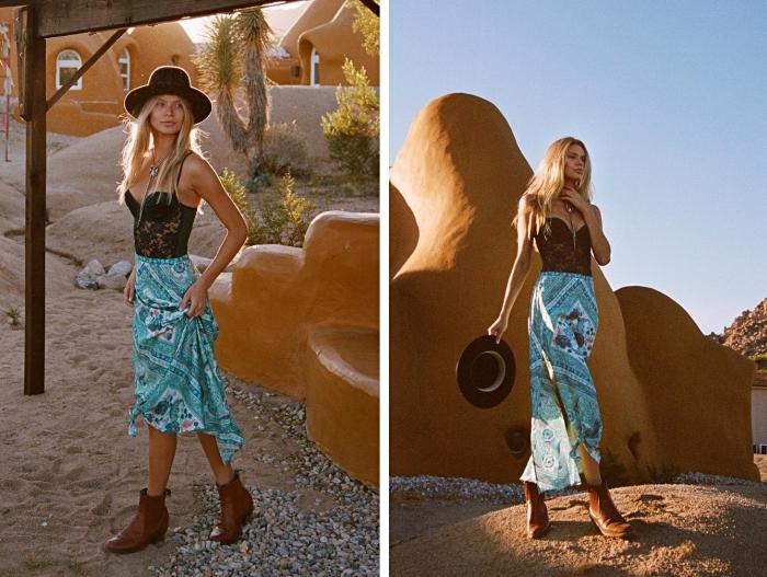 exemple de jupe longue été de couleur turquoise et aux motifs ethniques combinée avec un top bustier à dentelle noire et bretelles