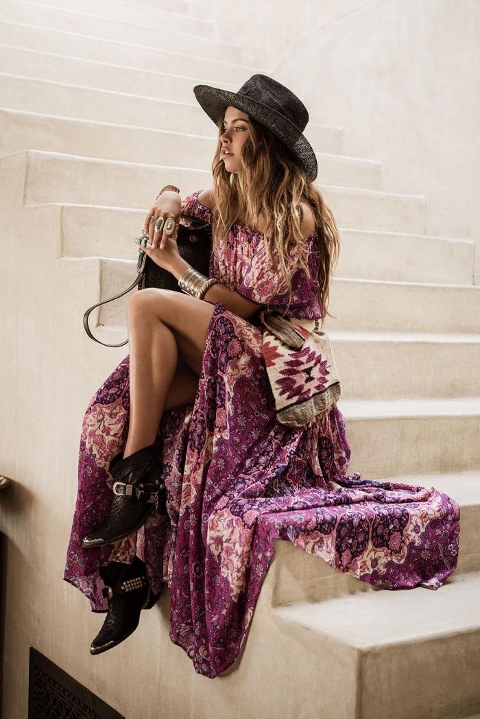 Coiffure bohème chic chapeau robe longue ete femme tenue robe longue rose pale tenue confortable ete