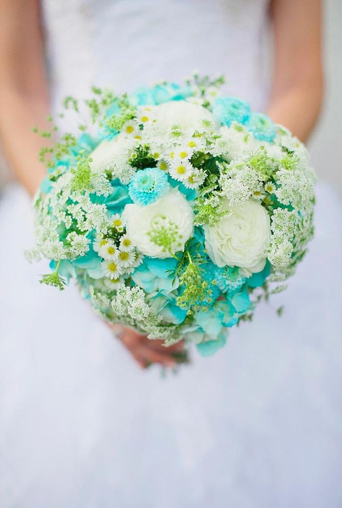 bouquet de mariée rond, marguerites blanches, hortensias bleues, roses blanches
