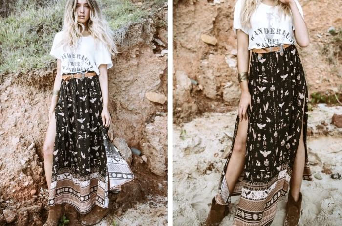 jupe taille haute longue de couleur noire à design motifs géométriques et ethniques marron et blanc combinée avec t-shirt blanc
