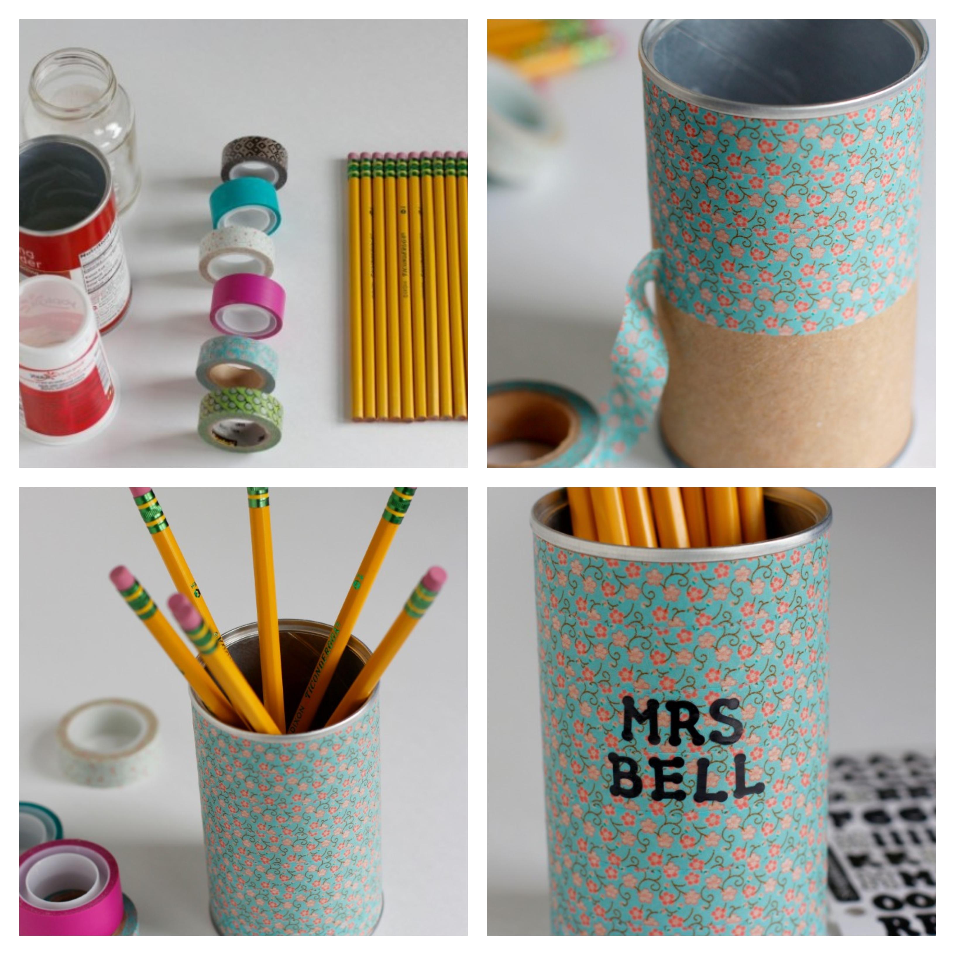boite de conserve décorée de wahi tape à motifs floraux, cadeau maitresse personnalisé, pot a crayon diy