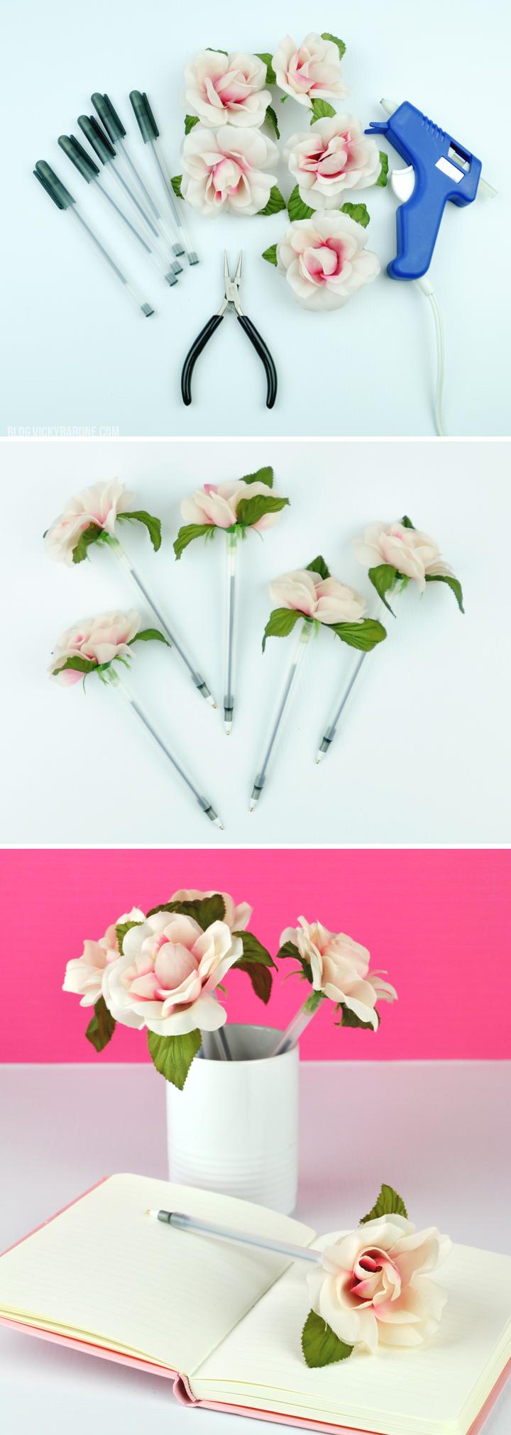 cadeau maitresse diy, stylo décoré de fleur artificielle, cadeau fin d année maitresse a faire soi meme