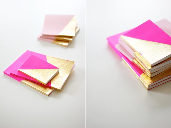 carnet de notes décoré de motif doré, feuille d or, cadeau maitresse diy simple et rapide a faire soi meme