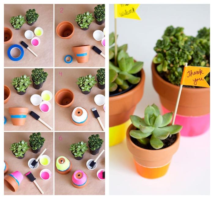 idee cadeau maitresse fait main, pot de fleur décoré de peinture avec des plantes succulentes à l intérieur