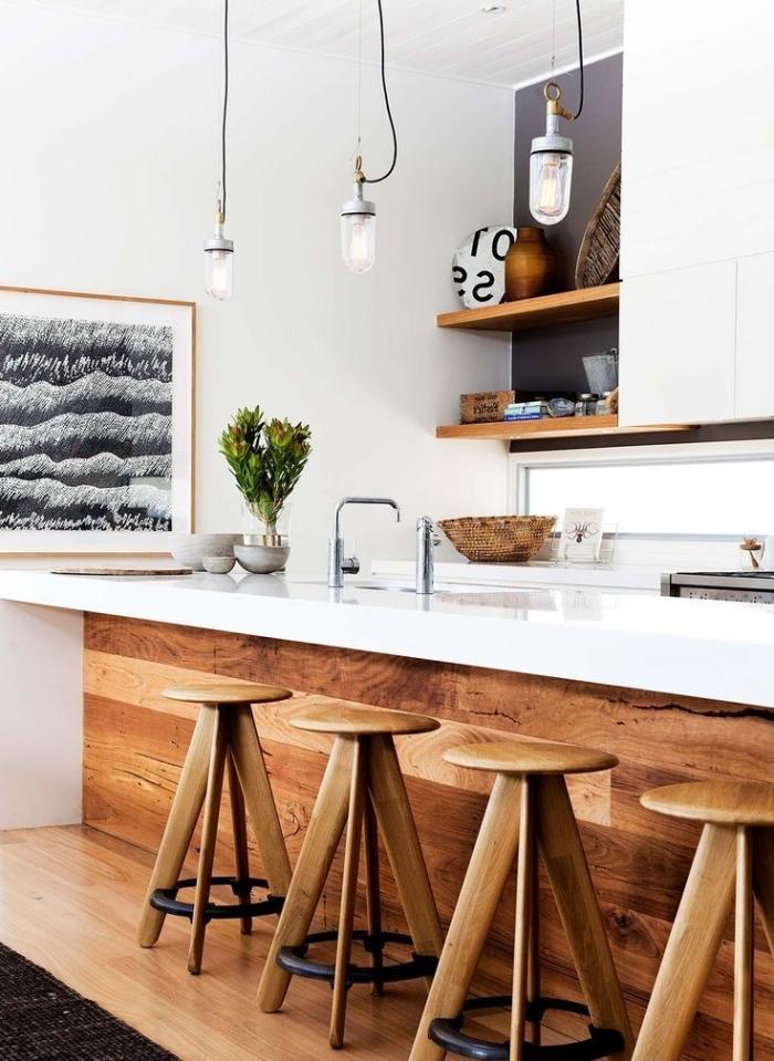 décoration de cuisine blanche avec meubles et objets en bois, idée design intérieur moderne de style minimaliste