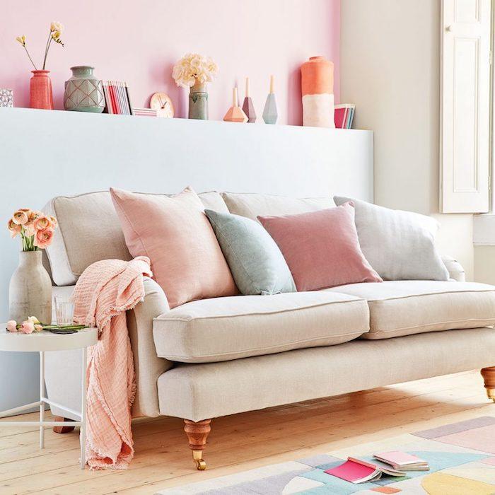 Rose poudree peinture rose poudré deco rose poudré décoration maison salon moderne stylé feminine décoration