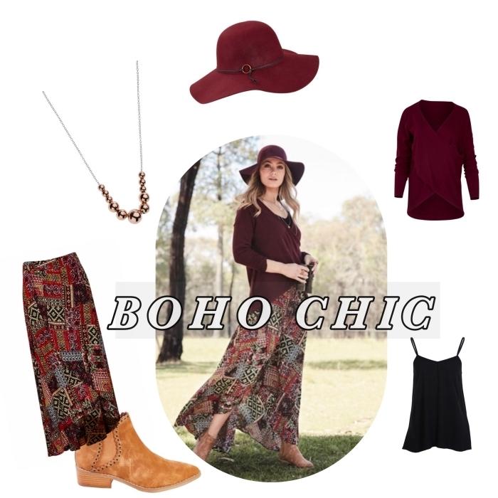 exemple de vetement hippie chic avec jupe longue rouge aux motifs ethniques portée avec blouse bordeaux