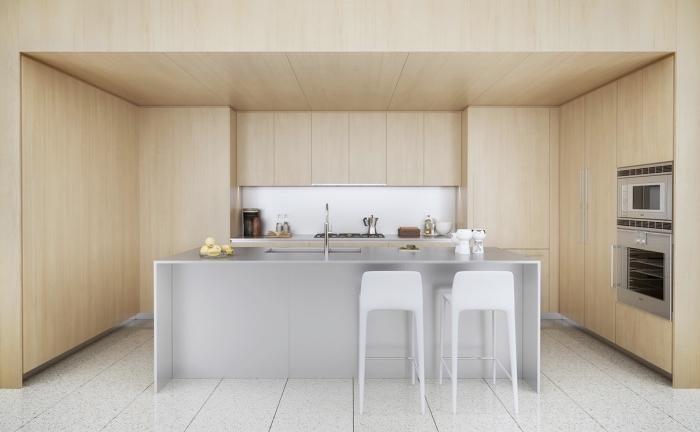 déco de style minimaliste dans une cuisine blanche et bois avec carrelage sol et ilot central, modèle de cuisine équipée