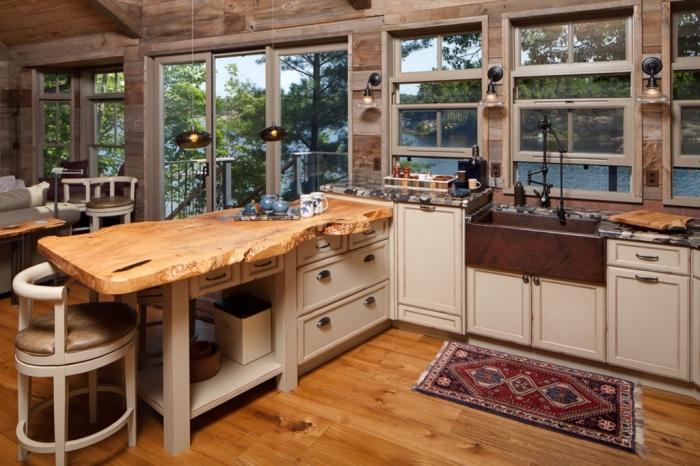 exemple meuble cuisine bois avec meubles bas en bois peint blanc et modèle d'ilot central en comptoir bois brut