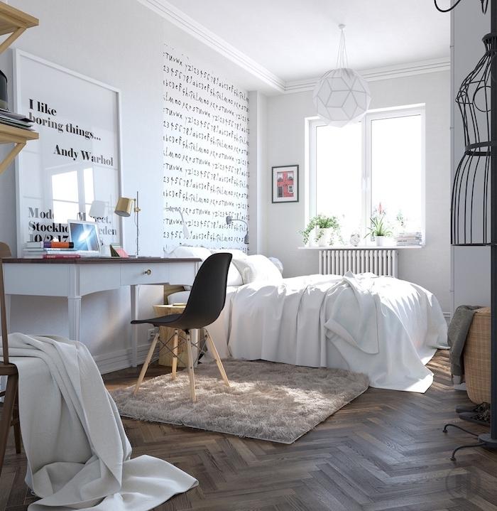 Idée papier peint chambre couleur idéale pour chambre adulte déco nordique lettres sur le mur peinture blanche et bois