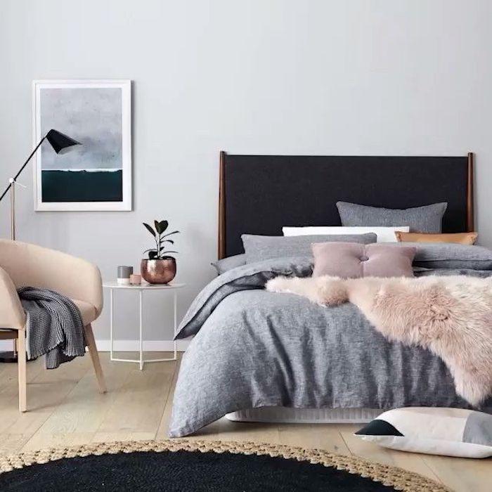 Intérieur déco chambre gris et rose peinture rose poudré quelle décoration chambre moderne gris blanc et rose peinture abstrait chouette