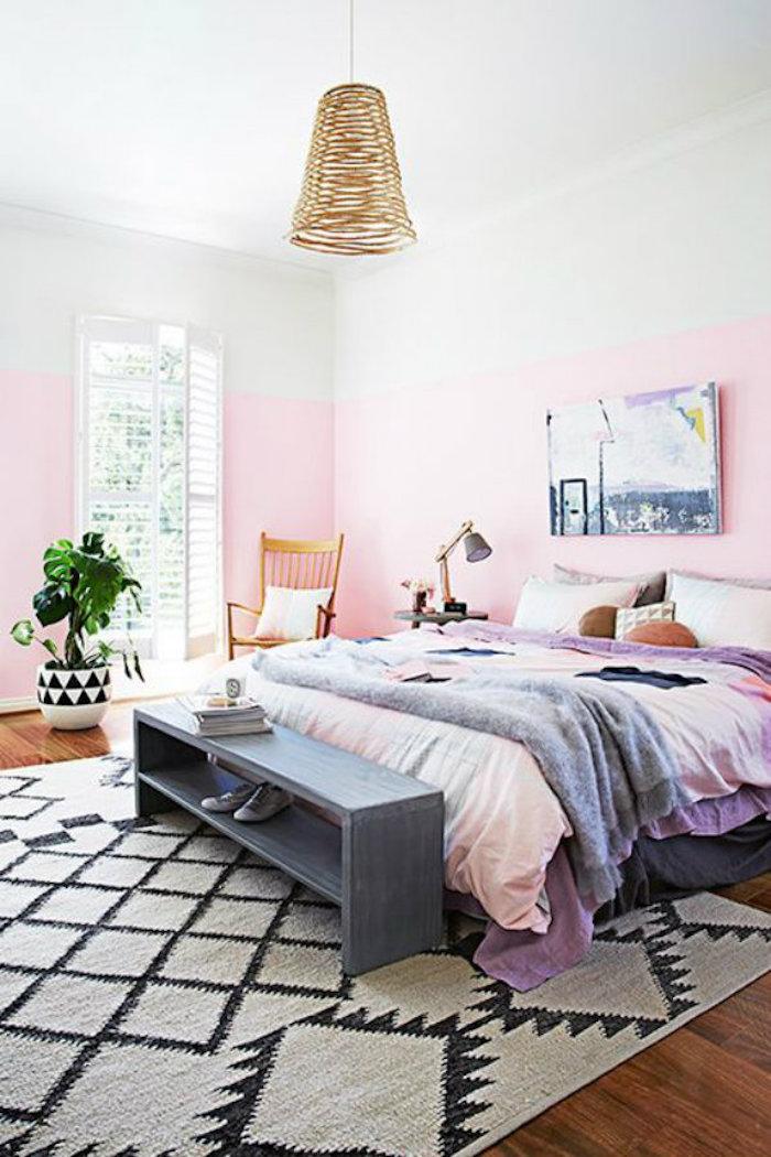 Mur bicouleur blanc et rose couleur bois de rose vieux rose couleur chambre en rose et gris belle déco