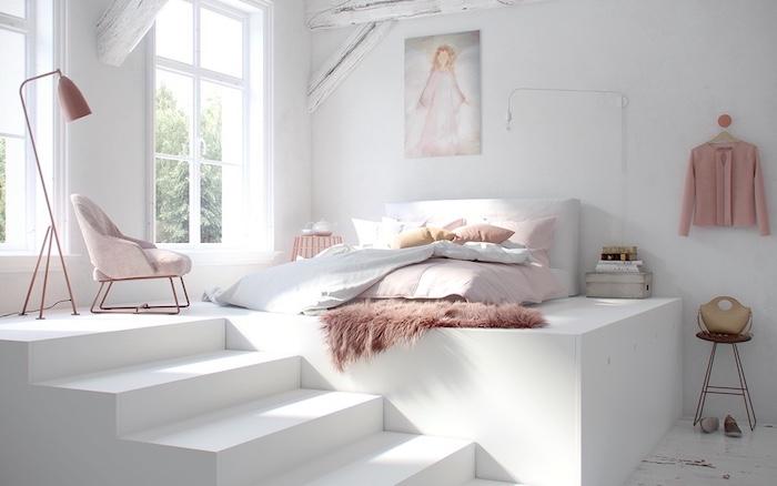 Chambre rose poudré et taupe peinture rose poudré idée comment décorer un studio en blanc et rose