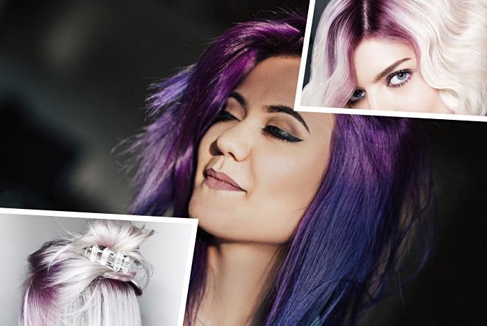 comment colorer les cheveux chatain avec mèches violettes ou bleues, coloration blond blanc avec racines améthyste