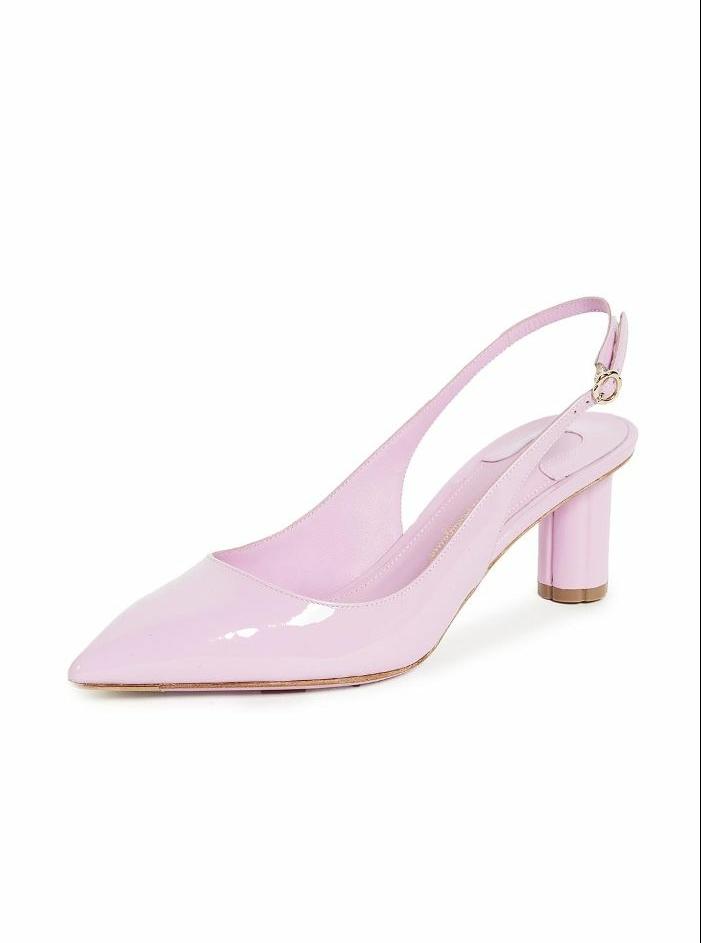 escarpin mariage en rose acidulé bonbon, bouts pointus, derrière ouverte, talon bas et solide en forme ronde, chaussure de mariée confortable