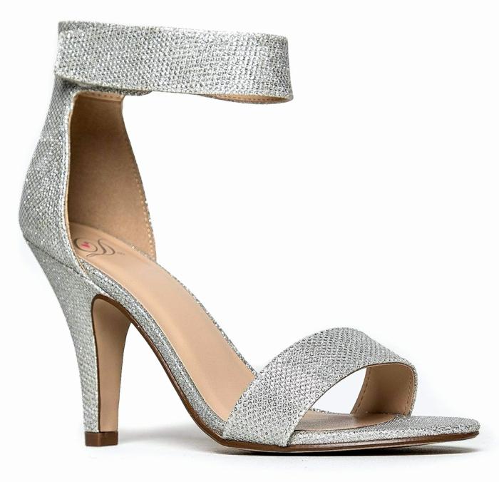 chaussure femme mariage, chaussure argenté mariage, talon épais haut, chaussure ceremonie femme, brillance maximale