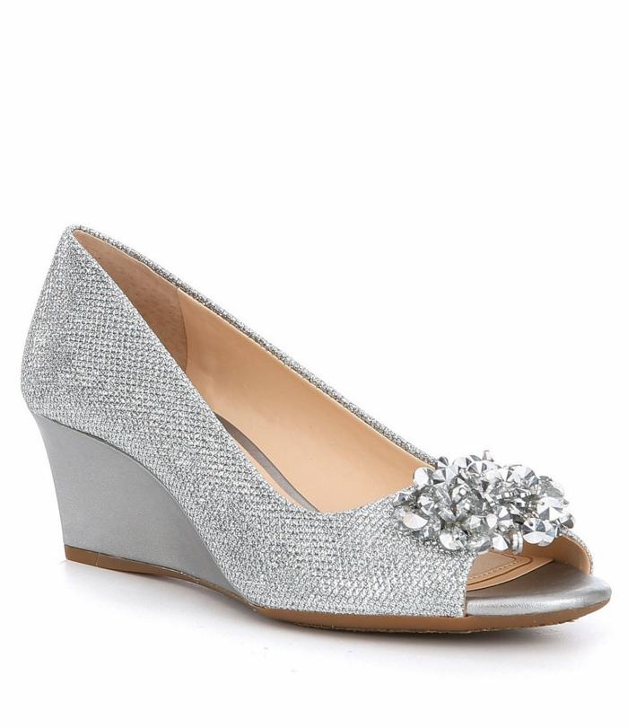 chaussure mariee, chaussure argenté mariage, plate-forme moyenne, petite ouverture devant, chaussure ceremonie femme