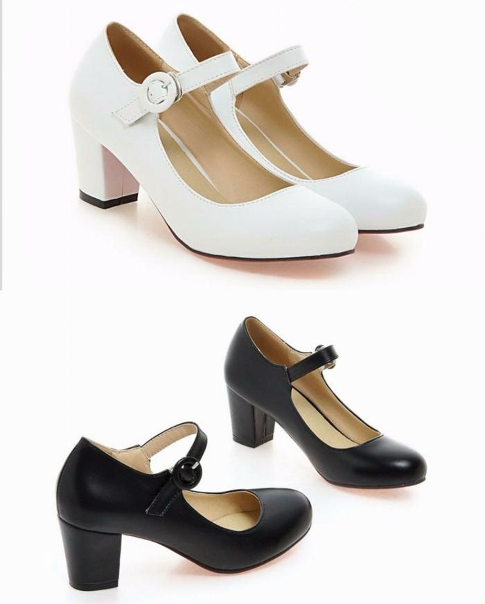 chaussure mariage femme, chaussure mariee, chaussure de mariée confortable, modèle en blanc et modèle en noir, talons épais hauteur moyenne