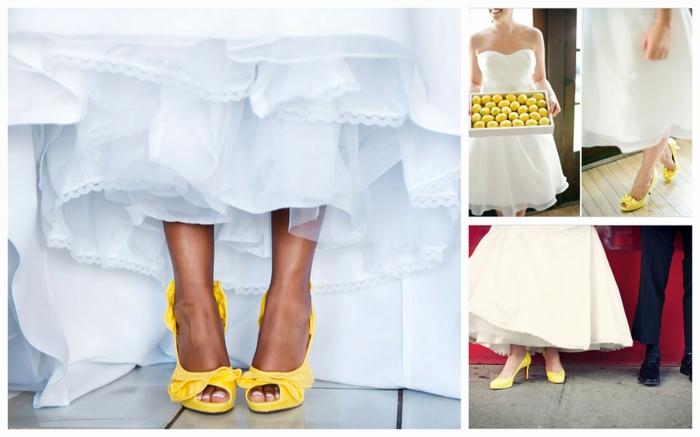 chaussure ceremonie femme, chaussure mariage femme, escarpin mariage en jaune citron, volants très originaux derrière
