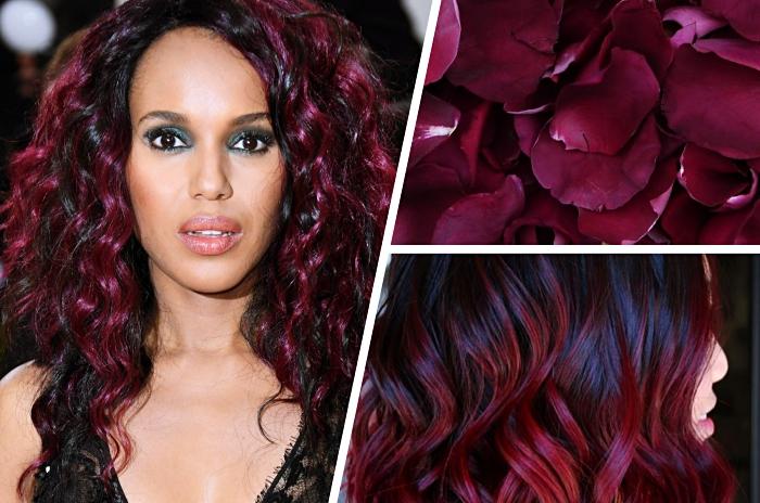 idée coloration cheveux tendance de nuance rouge ou violet, cheveux frisés de couleur noire aux mèches bordeaux