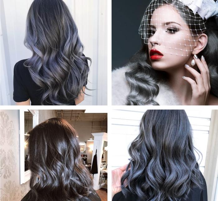 produits de coloration pour cheveux gris de couleur l oreal, exemple de balayage sur cheveux noirs aux reflets gris