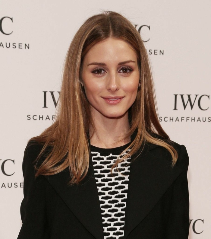 ombrage cheveux chatain et miel, veste noire, tie and dye chatain, Olivia Palermo