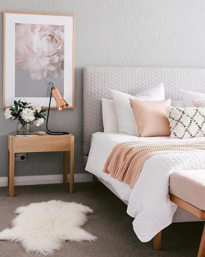 Un salon gris et rose deco rose poudré chambre rose poudré associer le rose peinture rose choisir un tableau pour le mur
