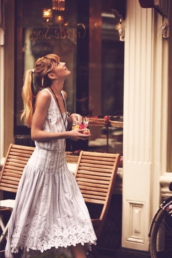 Robe fluide habillée comment s'habiller aujourd hui été collection robe blanche mi longue adorable photo femme