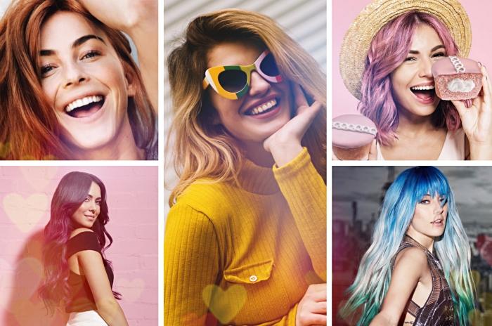 différentes idées pour coloration tendance à adopter, mèches colorées sur cheveux foncés, balayage blond ou caramel