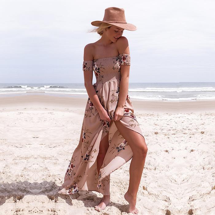 Boheme chic robe droite fluide longue fendue robe légère été robe pour l été style bohème femme comment s habiller pour aller à la plage