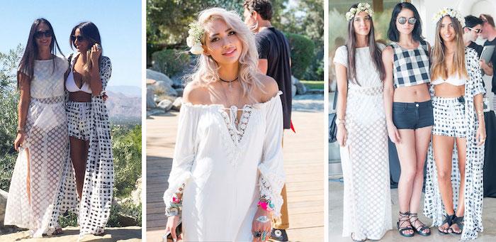 Chouette robe blanche boheme robe boheme longue à la mode robe boho style femme coachella tenues