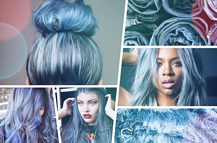 coloration tendance pour cheveux chatain, modèle de teinture bleue aux reflets bleu denim sur cheveux de base noire