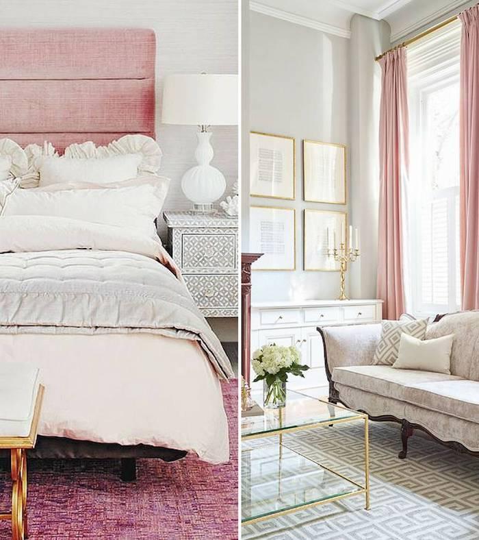Idée deco gris et rose deco rose poudré vieux rose couleur blanc et rose fantastique chambre à coucher et salon au meme style