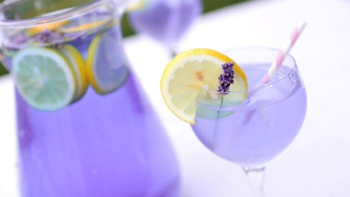 utiliser colorant alimentaire violet pour faire une limonade maison aux fleurs séchées de lavande et jus de citron