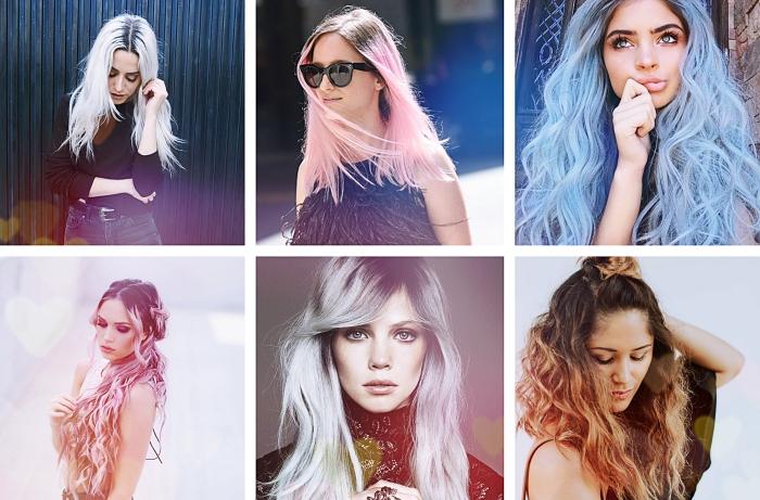 modèles de coiffures sur cheveux aux racines foncées et pointes éclaircies ou colorées en nuances pastel rose bleu