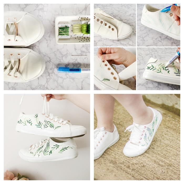 customiser des derbies blancs à motif branche verte, activité manuelle pour ado à faire soi meme