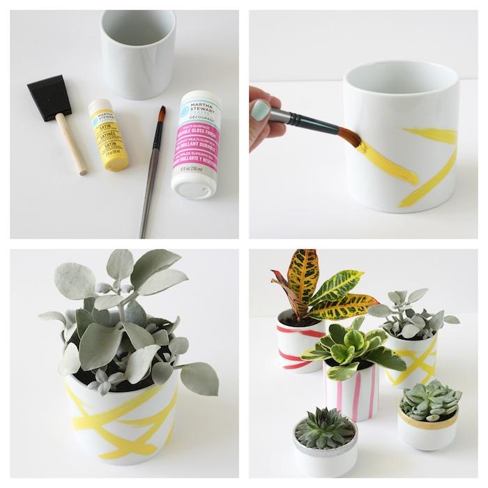 pot de fleur blanc décoré de bandes touches de peinture colorée, cadeau pour maitresse a faire soi meme
