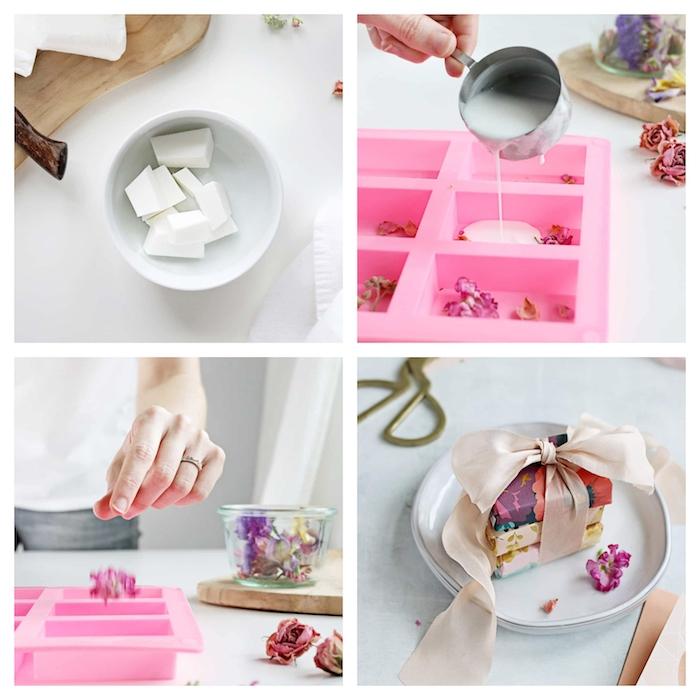 exemple comment faire son savon avec du savon liquide et des pétales de roses, cadeau pour maitresse a fabriquer