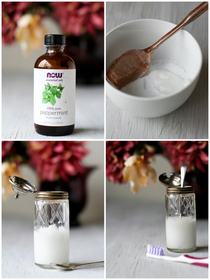 recette de dentifrice bicarbonate de soude, huile de coco et xylitol, au goût rafraîchissant de menthe poivrée