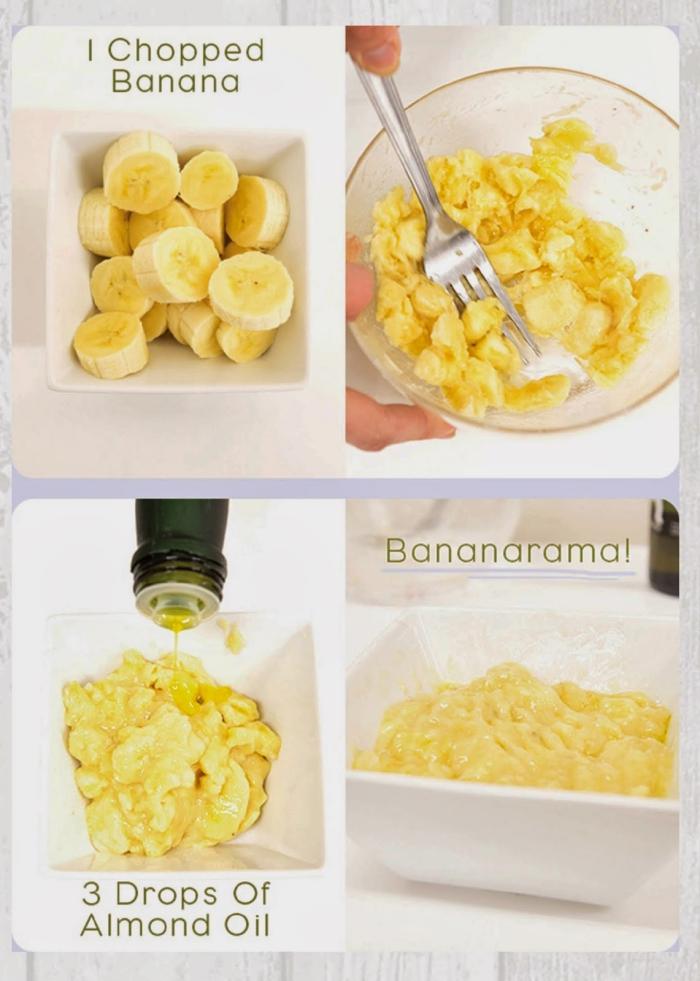 un masque pour le visage fait maison à base de deux ingrédients, à la banane et à l'huile essentielle d'amande pour un teint éclatant