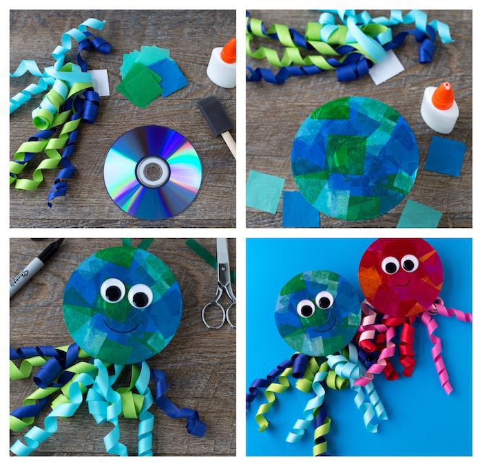 activité manuelle primaire, pieuvre en disque décoré de bouts de papier crépon et tentacules en chutes de papier, des yeux mobiles