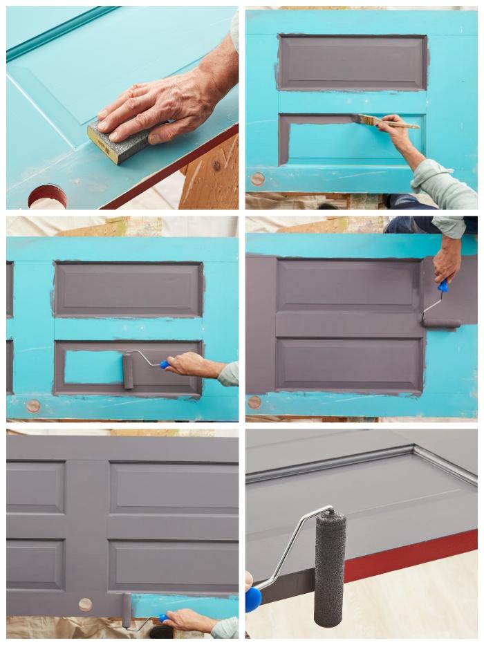 technique de pose de la peinture sur une porte à panneaux, comment peindre une porte à panneaux