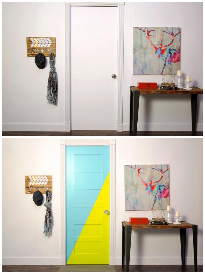 relooking porte d'intérieur facile et pas cher à quelques coups de pinceau, comment réaliser des motifs en peinture colorés pour donner un coup de fraîcheur à nos portes d'intérieur