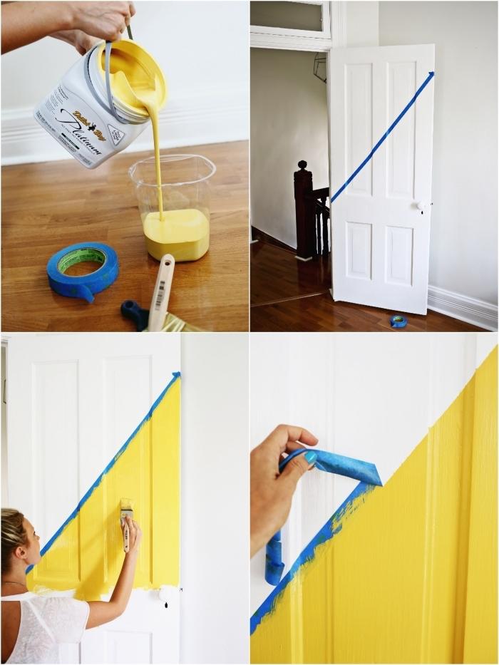 tuto pour peindre une porte en bois à moitié, relooker une porte intérieure en réalisant des motifs géométriques en peinture