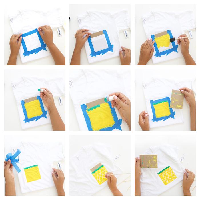 comment customiser un tee shirt, activité manuelle d'été, poche tee shirt blanc décoré de peinture motif ananas jaune, blanc et vert